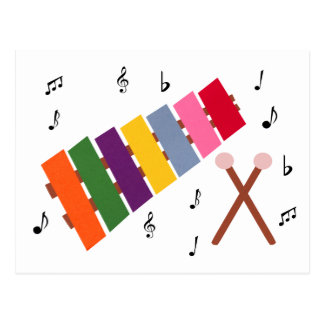 Xylophone Multicolored Musical Instrument Cartoon Postcard