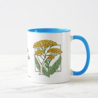 Y for Yarrow Flower Alphabet Mug