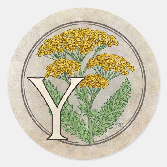 Y for Yarrow Flower Monogram Classic Round Sticker