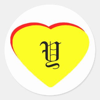 """Y"" Heart Yellow Red Wedding Invitation The MUSEUM Round Sticker"