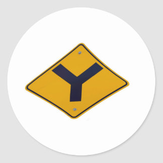 Y Junction Yellow Signpost Classic Round Sticker