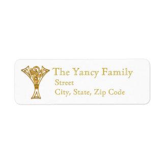 "Y Monogram ""Irish Gold"" design Address Lables Return Address Label"