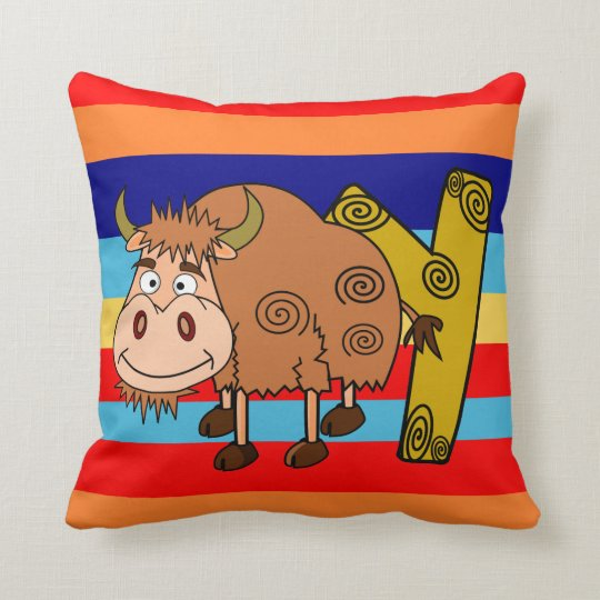 Y yak name initial throw pillow