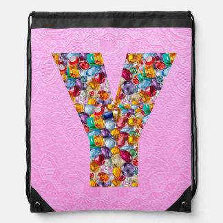 y yy yyy alpha initial name Birthday HappyBirthday Drawstring Backpacks