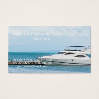 Yacht at mooring business card