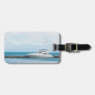 Yacht at mooring luggage tag