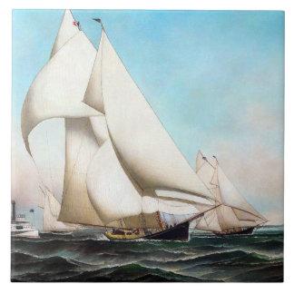 Yacht Boat Race Seas Sailing Ocean Tile