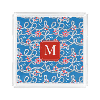 Yacht Club Royal Blue Monogram Acrylic Tray