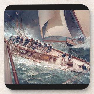 Yacht Crew Racing Ocean Boat Seas Coaster