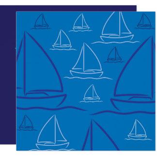 "Yacht pattern 5.25"" square invitation card"