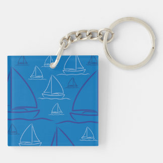 Yacht pattern Double-Sided square acrylic keychain