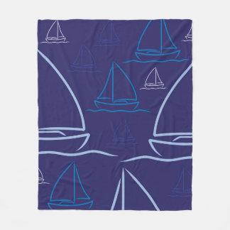 Yacht pattern fleece blanket