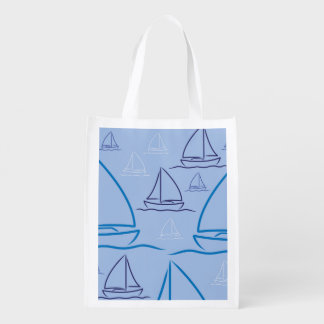 Yacht pattern reusable grocery bags