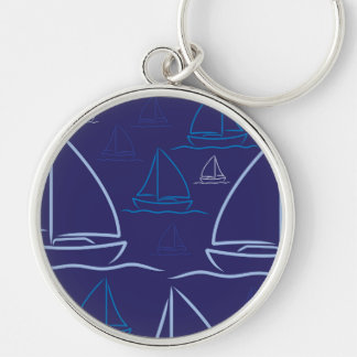 Yacht pattern Silver-Colored round keychain