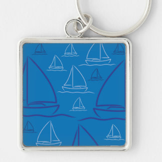 Yacht pattern Silver-Colored square keychain
