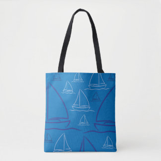 Yacht pattern tote bag