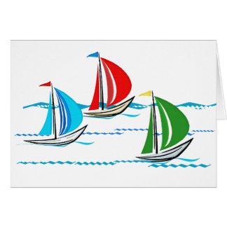 Yacht Racing Trio Greeting Card