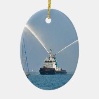 Yacht Zig Zag And Tug Ceramic Oval Ornament