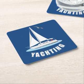 Yachting Square Paper Coaster
