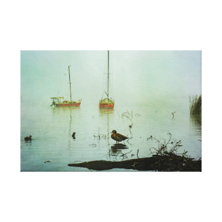 Yachts and Duck on a Misty Morning Canvas Print