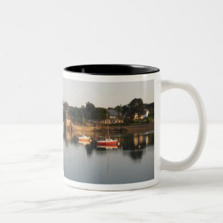 Yachts boats in the harbour at Saint Guirec France Two-Tone Coffee Mug