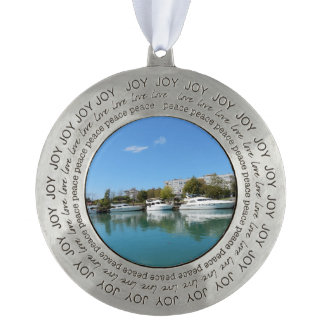 Yachts in Turkey Round Pewter Ornament