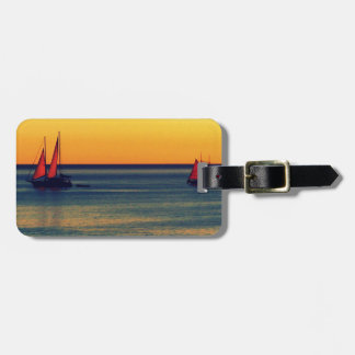Yachts on Australian shore at sunset Luggage Tag