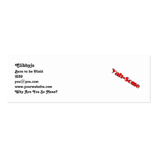 Yah-some (red) pack of skinny business cards