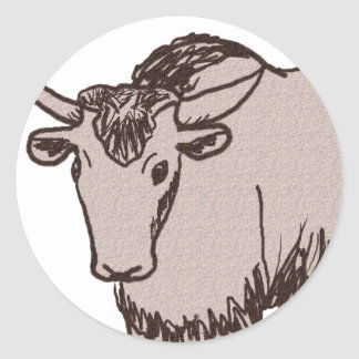 Yak cartoon drawing, brown and sandstone classic round sticker