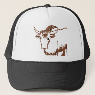 Yak drawing outline, woodgrain texture trucker hat