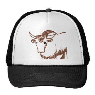 Yak drawing outline, woodgrain texture trucker hat
