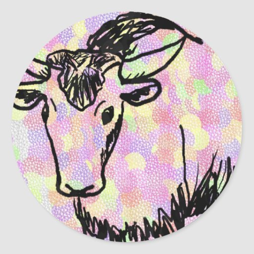 Yak outline in black against a pastel spotty back round stickers