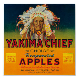 Yakima Chief Apple Label - Yakima, WA Poster