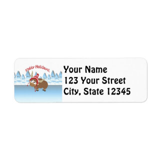 Yakky Holidays! Winter Scene Return Address Label