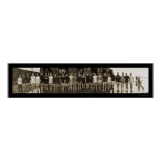 Yale Crew Team & Subs Huge Photo 1910 Poster