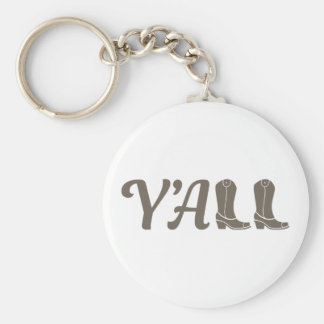 Yall Cowgirl Boots Basic Round Button Keychain
