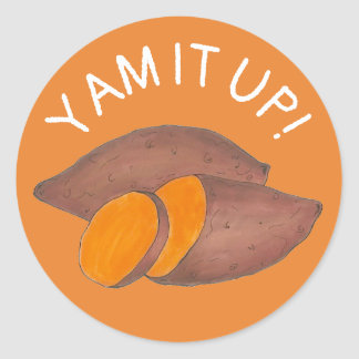 Yam It Up Funny Orange Sweet Potato Foodie Cooking Classic Round Sticker