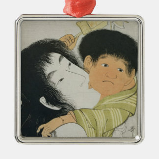 Yama-Uba and Kintoki Silver-Colored Square Ornament