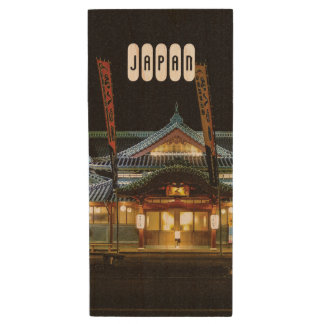 Yamagata Japan Bright Red Shinto Temple. Wood USB Flash Drive