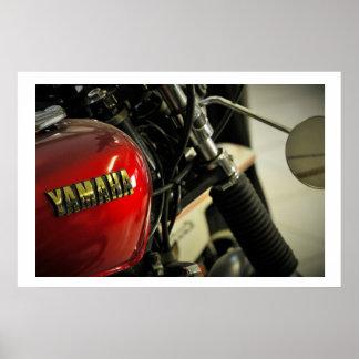 Yamaha Red Golden Motorcycle Motorbike Poster