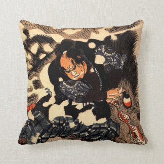 Yamamoto Kansuke fighting a giant boar Throw Pillow