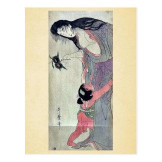 Yamauba holding chestnuts by Kitagawa,Utamaro Postcard