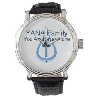 YANA male/female black vintage leather strap Wristwatch
