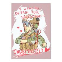 "Yandere Operator Valentine 1 3.5"" X 5"" Invitation Card"