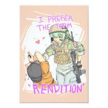 "Yandere Operator Valentine 4 3.5"" X 5"" Invitation Card"