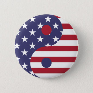 Yang Yin America Flag Abstract Art Asian Balance 2 Inch Round Button