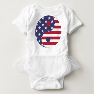 Yang Yin America Flag Abstract Art Asian Balance Baby Bodysuit