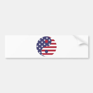 Yang Yin America Flag Abstract Art Asian Balance Bumper Sticker