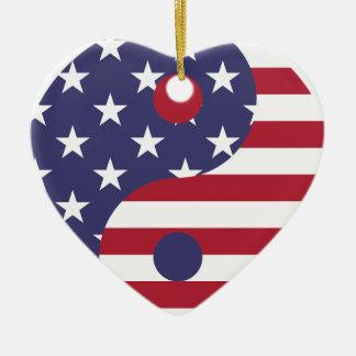 Yang Yin America Flag Abstract Art Asian Balance Ceramic Ornament