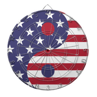 Yang Yin America Flag Abstract Art Asian Balance Dartboard